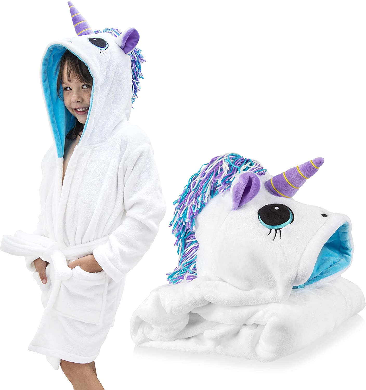 Unicorn Robe for Girls; Cute Super Soft Turquoise Blue, Purple and White Robe