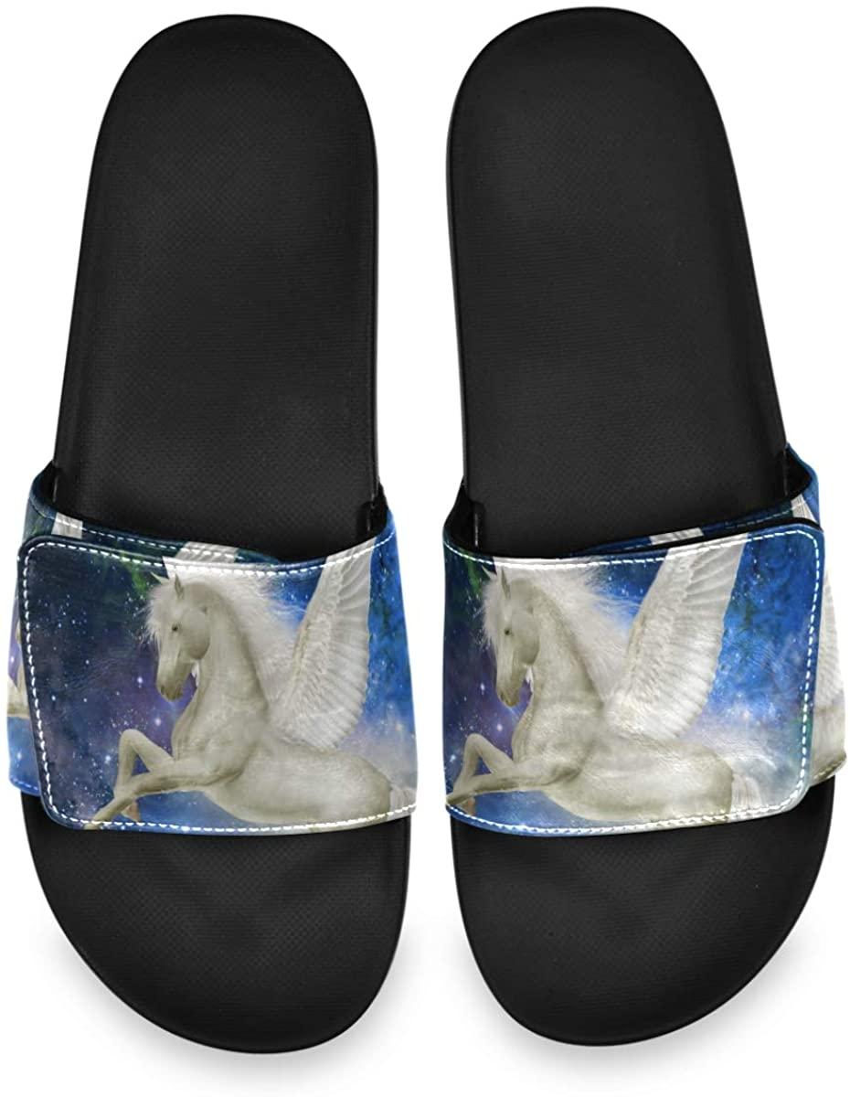 Velcro Slide Sandals for Men Women - Unicorn Pegasus in The Sky Non Slip Slides Soft Sole Spring Summer Flat Slippers for Indoor Outdoor Walking