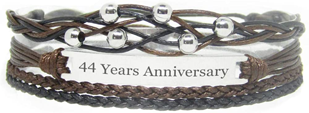 Miiras Anniversary Handmade Bracelet - 44 Years Anniversary - Black - Made of Braided Rope and Stainless Steel - Gift for Women, Girls, Friends, Mothers, Daughters, Aunts