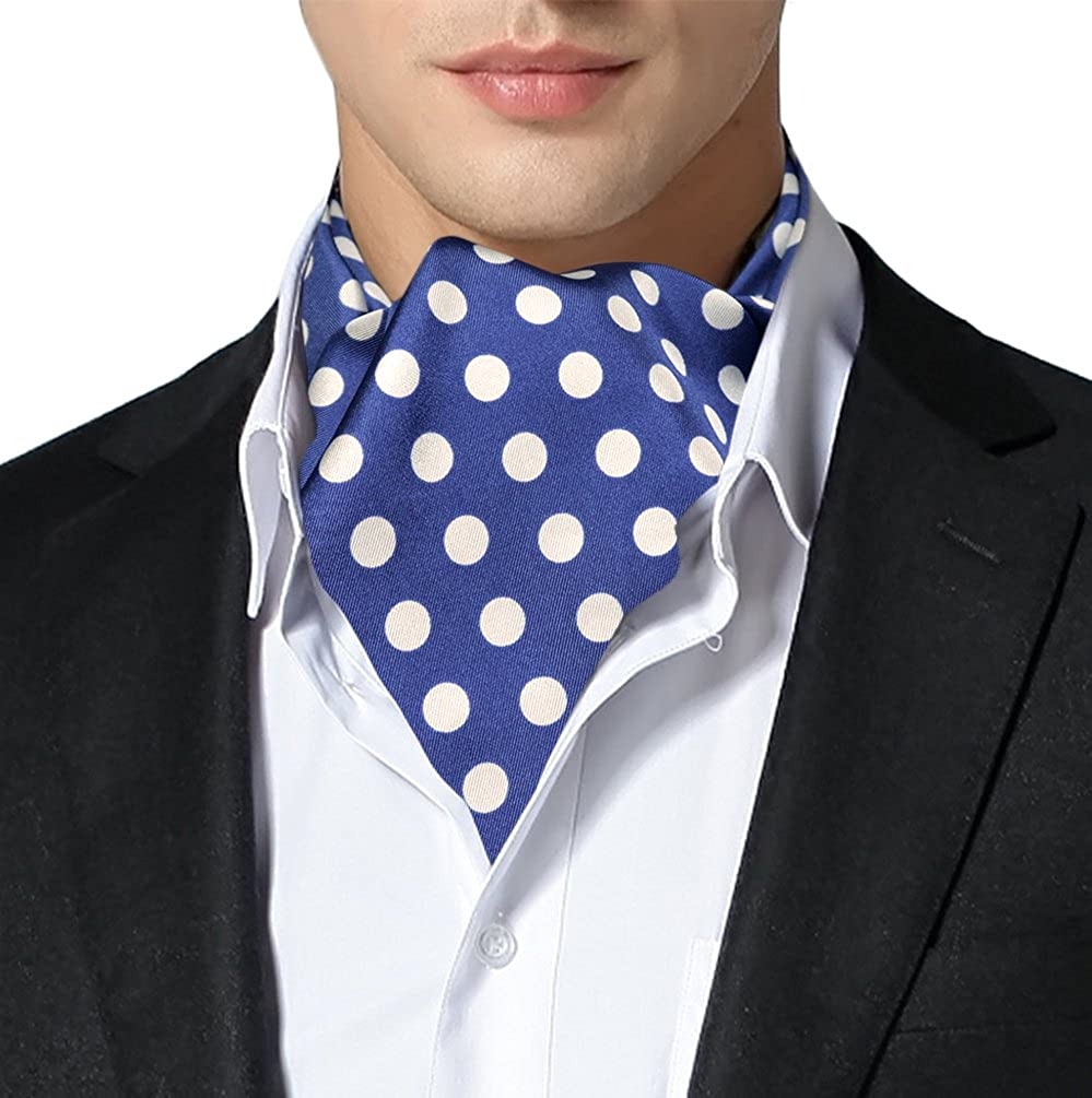 Remo Sartori Made in Italy Men's Big Polka Dots Self Cravat Ascot Tie, Silk