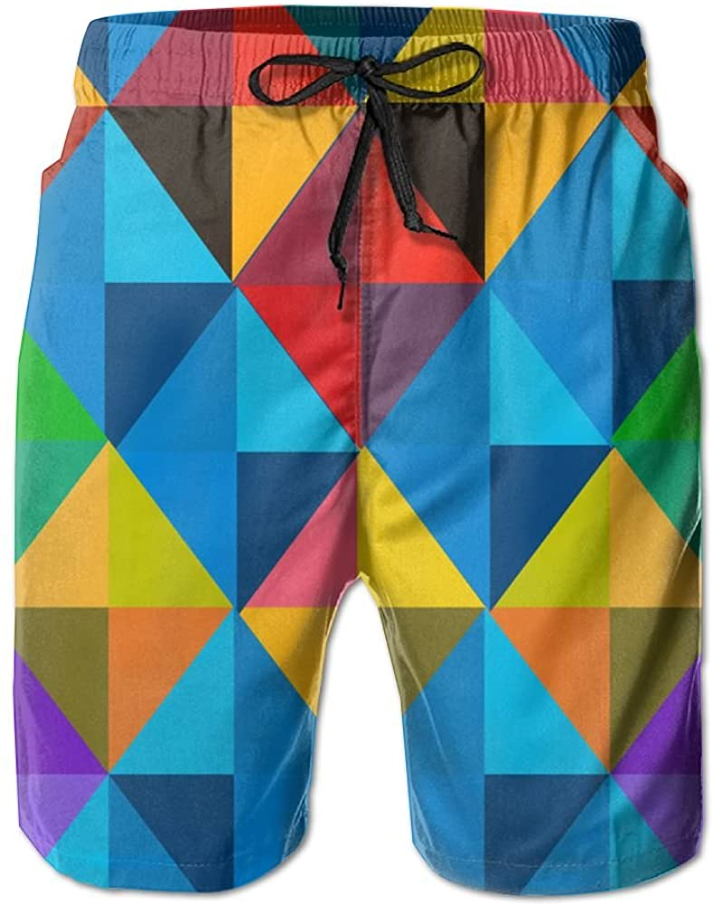 PIN Lightweight Quick Dry Colorful Triangle Texture Pattern Beach Shorts Swim Trunks Beach Pants