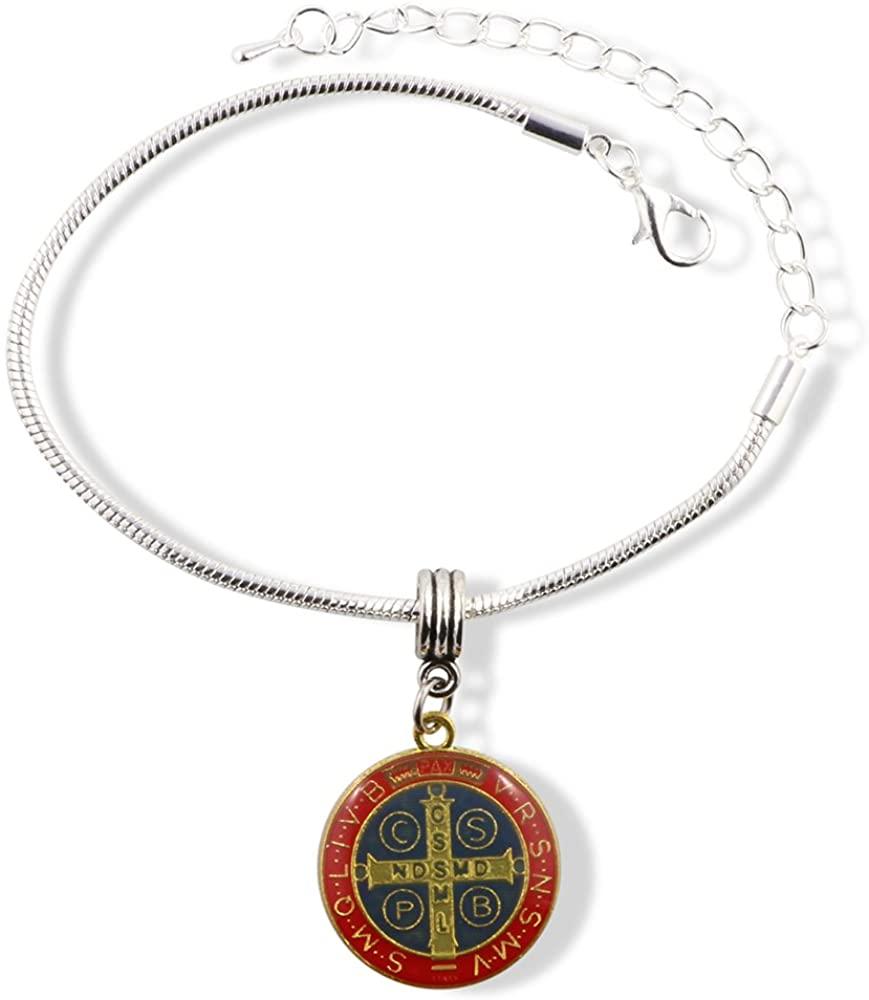 EPJ Saint Benedict Coloured Snake Chain Charm Bracelet