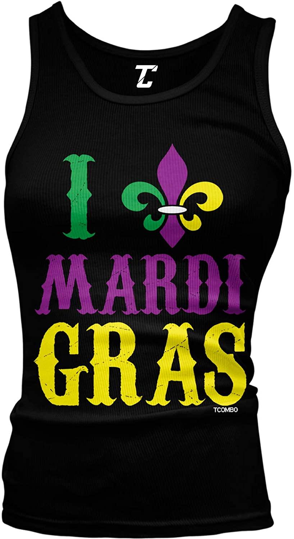 I Love Mardi Gras - Fleur De Lis NOLA Juniors Tank Top