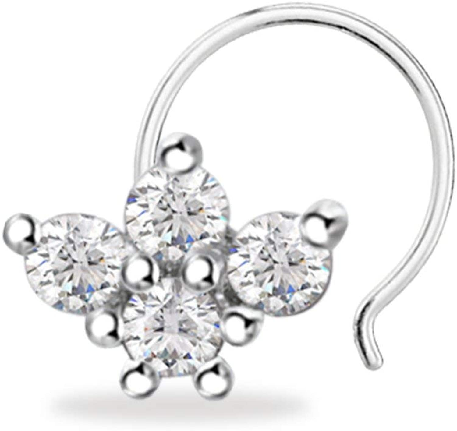 Trendzjewels 0.50 Ct Created Round Cut White Diamond 925 Sterling Silver 14K White Gold Finish Half Flower Nose Pin for Women's & Girl's