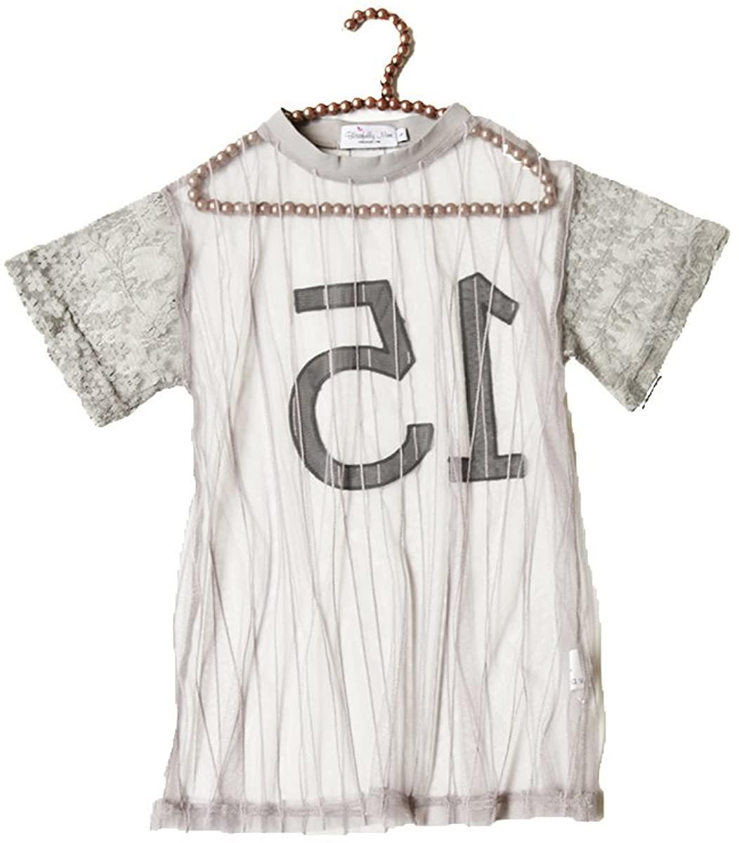 CHOCOKIDS Baseball Fashion Transparent Lace Girls Tops ; Black/Gray BSP0117