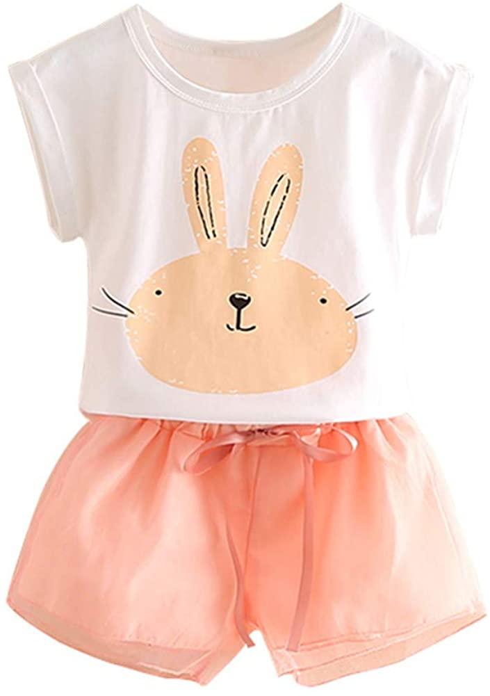 LittleSpring Girls Summer Outfit Bunny Cute Mesh Short Set