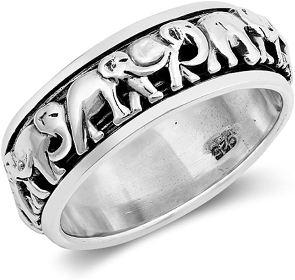 CloseoutWarehouse Sterling Silver Elephants Migration Spinner Ring