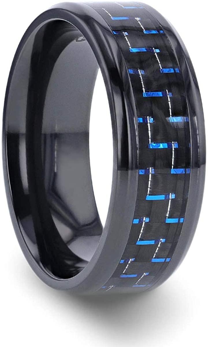 Thorsten Zayden   Titanium Rings for Men   Lightweight Titanium   Comfort Fit   Black Titanium Ring with Blue & Black Carbon Fiber Inlay and Bevels - 8mm