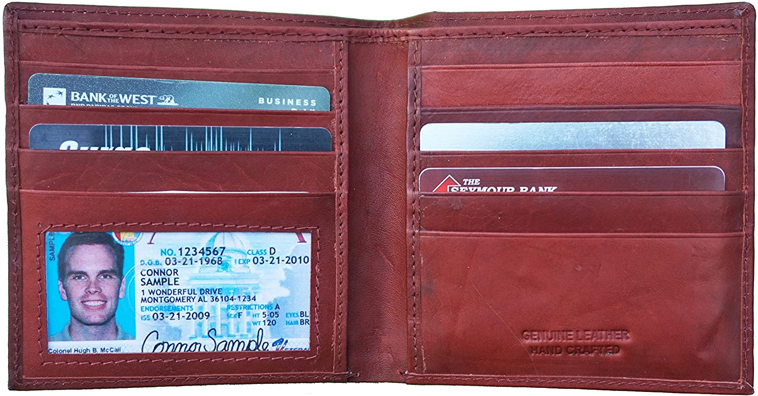 Mens Redish Genuine Leather Wallet Bifold - Holds 9 Card Made in USA
