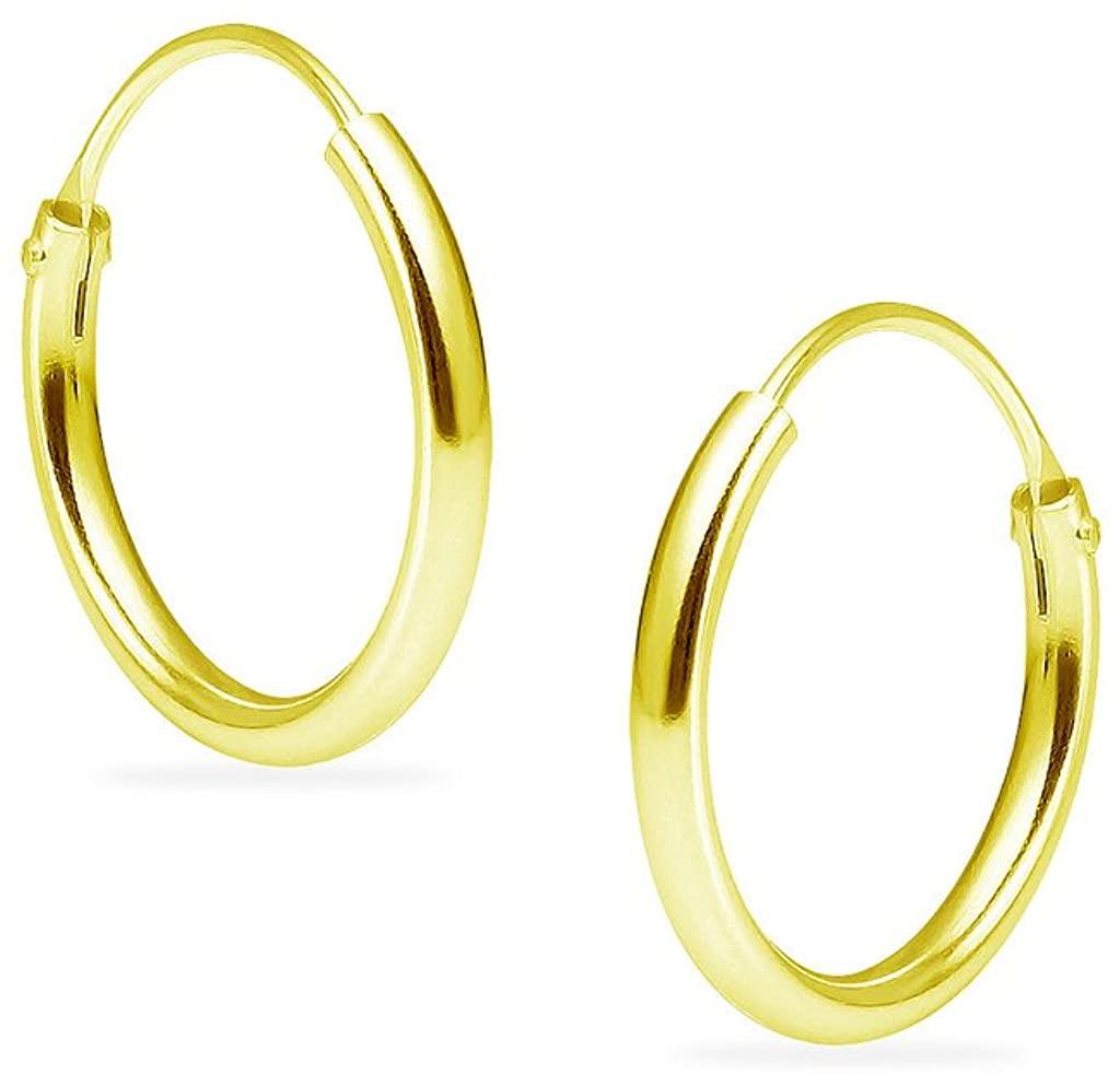 SILVERLINE JEWELRY - Yellow Gold Flashed Sterling Silver Endless Hoop Infinity Sleeper Earrings for Women & Men | 8mm 10mm 12mm 14mm 16mm 24mm