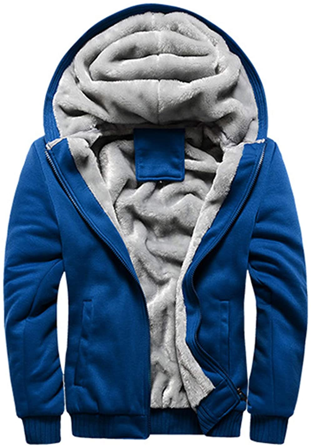 Flygo Men's Winter Sherpa Lined Hoodie Jacket Thermal Full Zip Hooded Fleece Sweatshirt