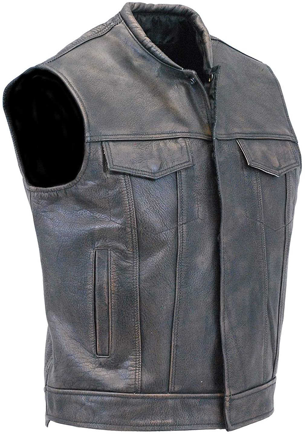 Jamin' Leather - Vintage Brown Leather Club Vest w/Dual CCW Pockets #VMA1018GN