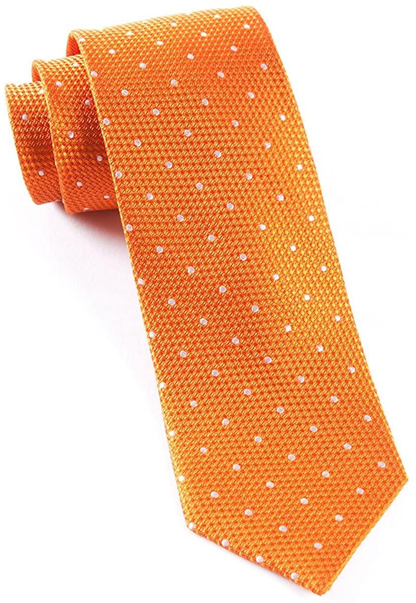 The Tie Bar 100% Woven Silk Tangerine Solid Textured Grenafaux Dots 2 1/2 Inch Tie