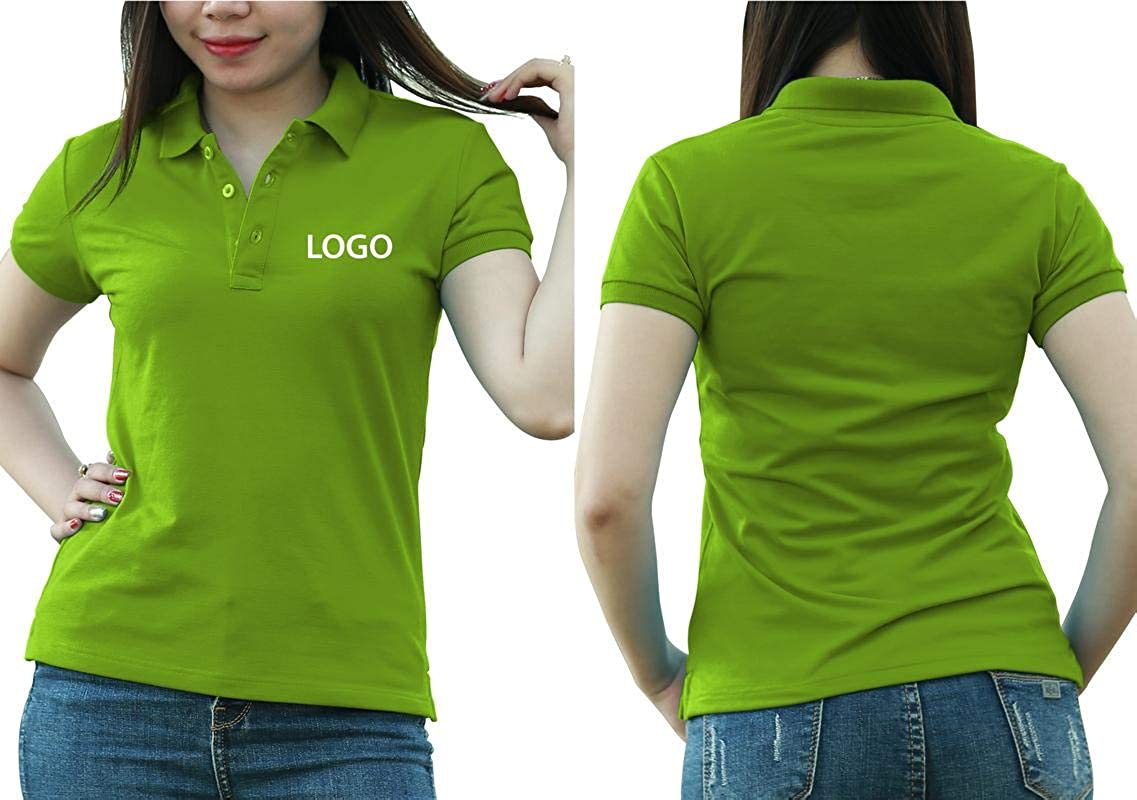 Add Custom Personalize Your Logo Text. Embroider On Polo & T-Shirt with Multi Sides – Sizes - Colors. Pack of 10 Green