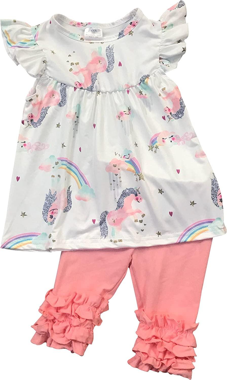 Little Girl Unicorn T-Shirt Top Tee Capris Ruffle Pants Outfit Clothing Set 2T-8
