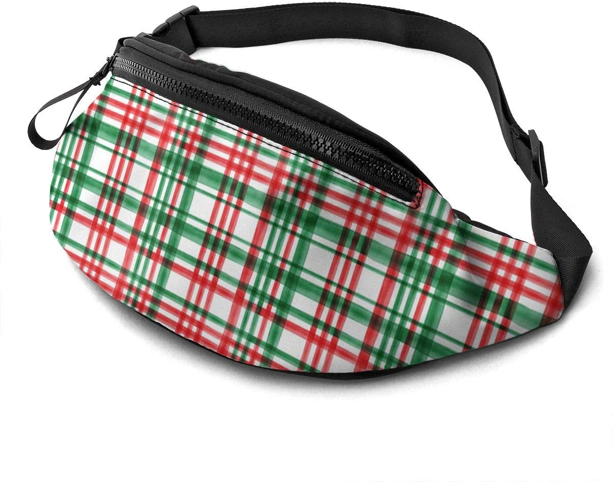 christmas green and red watercolor plaid Fanny Pack for Men Women Waist Pack Bag with Headphone Jack and Zipper Pockets Adjustable Straps