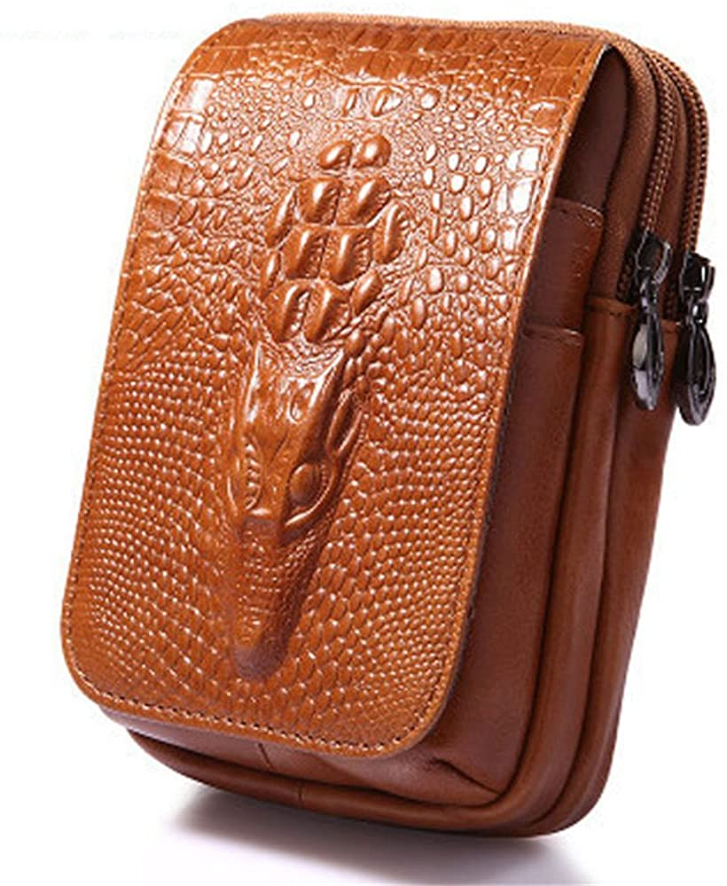 Mens Genuine Leather Belt Pouch Small Fashion Waist Bag Dragon Head Embossed Design