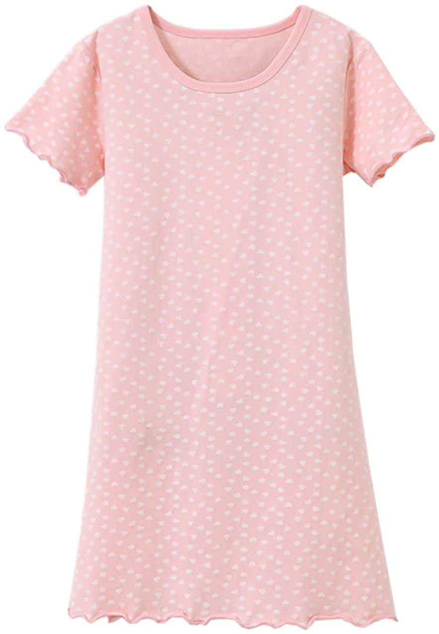 Lerbe Girl's Short Sleeve Nightgowns Sleep Shirt Cotton Sleepwear