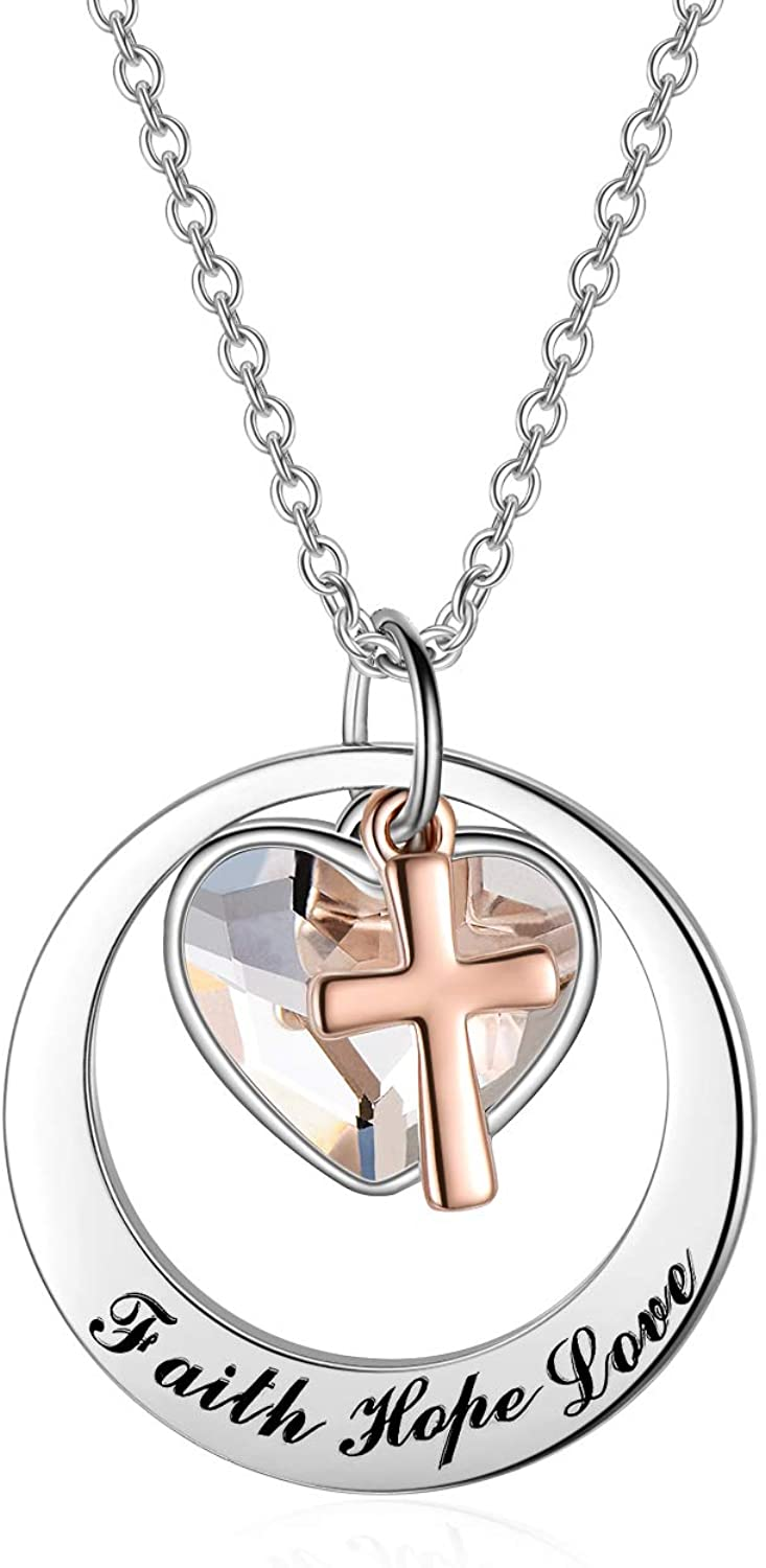 Two-Tone Sterling Silver and Rose Gold-Faith Hope Love Cross Charm Pendant Necklace with Swarovski Crystal