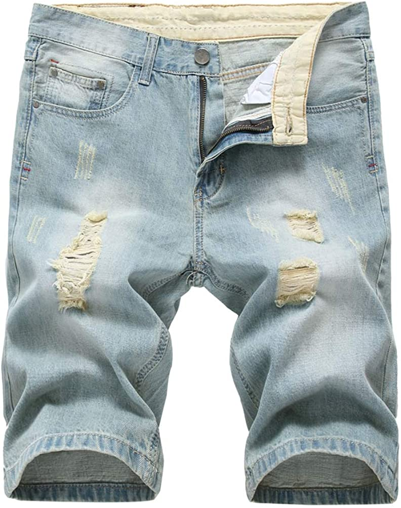 Lavnis Men's Casual Denim Shorts Classic Fit Distressed Summer Fashion Ripped Short Jeans
