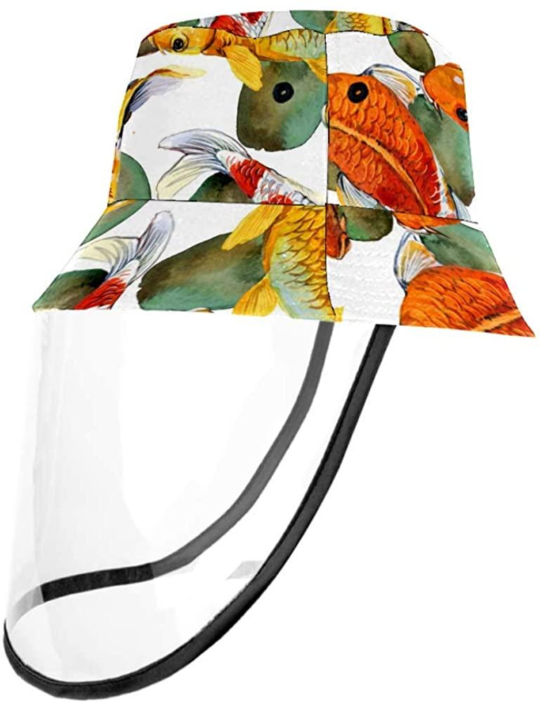 Japanese Carp Koi Watercolor Fish Pattern Outdoor Fisherman Hat Summer Beach Caps for Adults