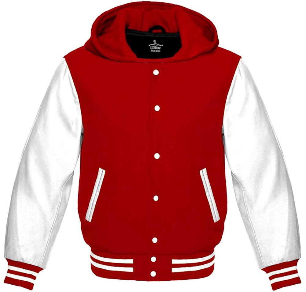 Varsity Hoodie Jacket for Baseball Letterman Bomber School of Red Wool and Genuine White Leather Sleeves