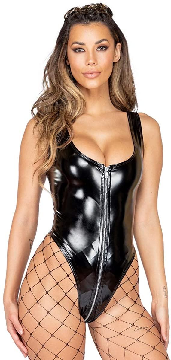 Roma Costume Women's Wet Look Vinyl Romper with Zipper Closure