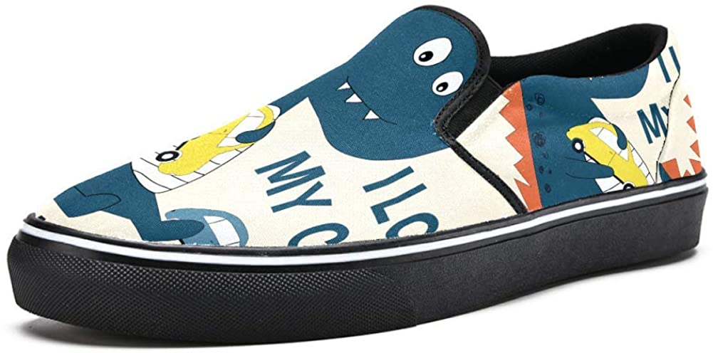 imobaby Slip on Loafer Shoes for Men Boys Cartoon Dionsaur Playing Cars Fashion Canvas Flat Boat Shoe