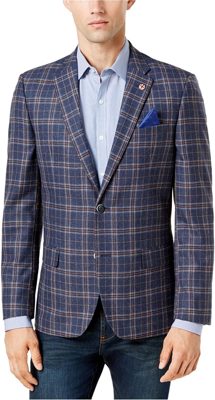 Ben Sherman Men's Two Button Hanwell Slim Fit Windowpane Sportcoat