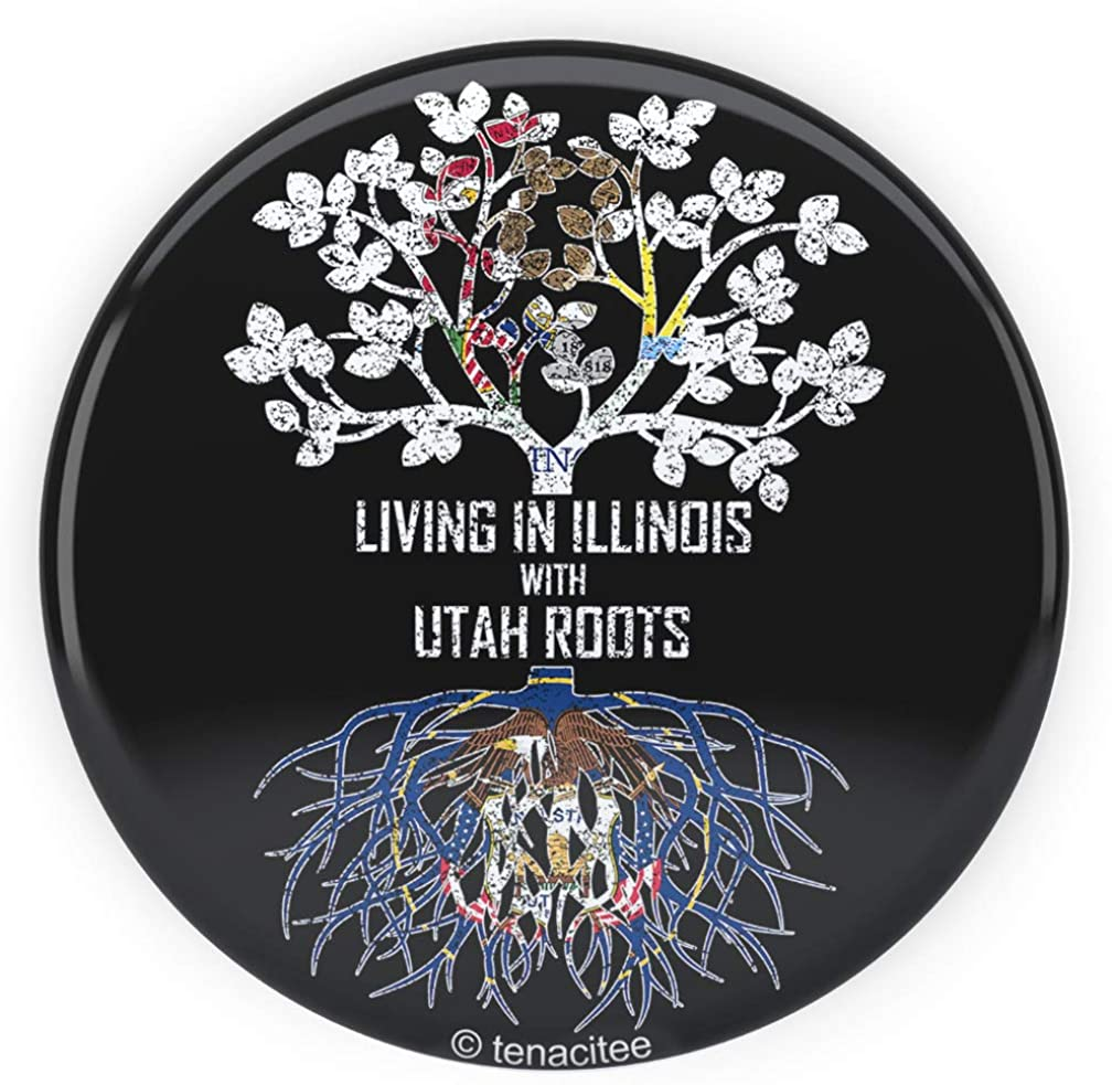 Tenacitee Living In Illinois with Utah Roots Pinback Button