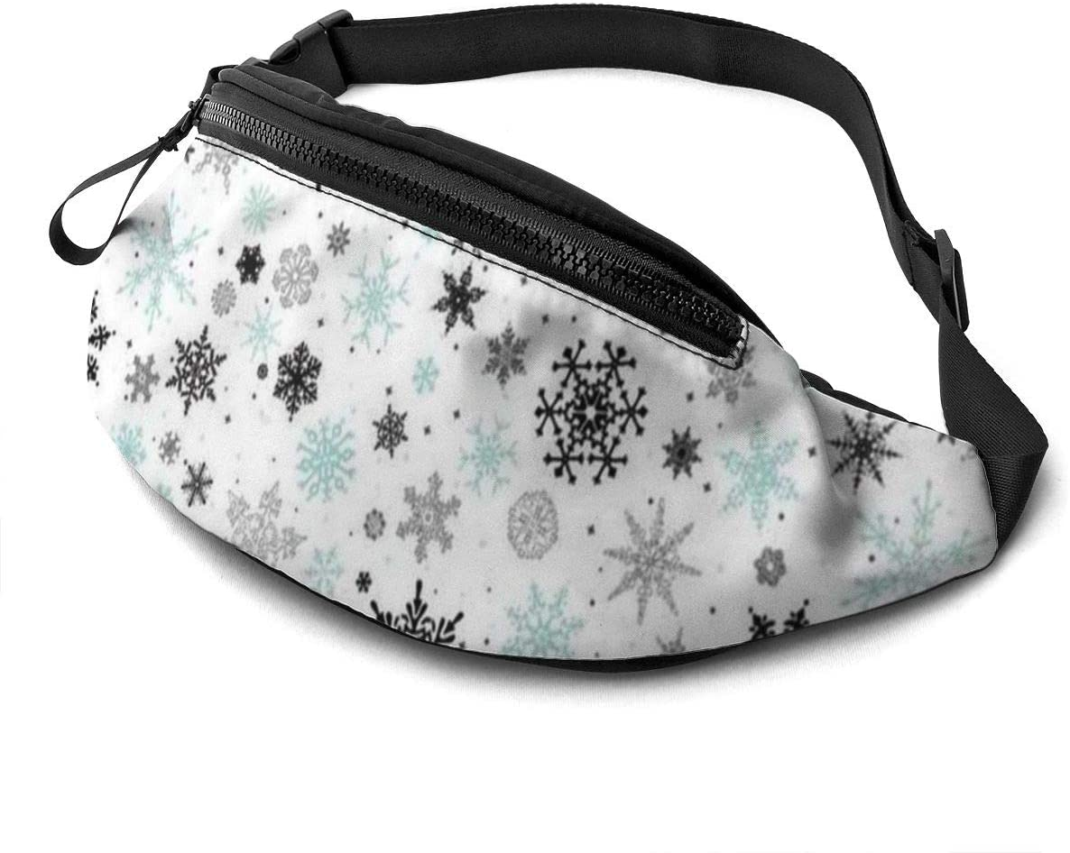 Snowflake (2) Fanny Pack For Men Women Waist Pack Bag With Headphone Jack And Zipper Pockets Adjustable Straps