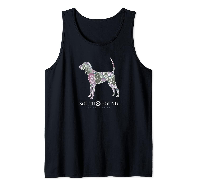 Sage Blush Floral Pattern Coonhound Dog Tank Top