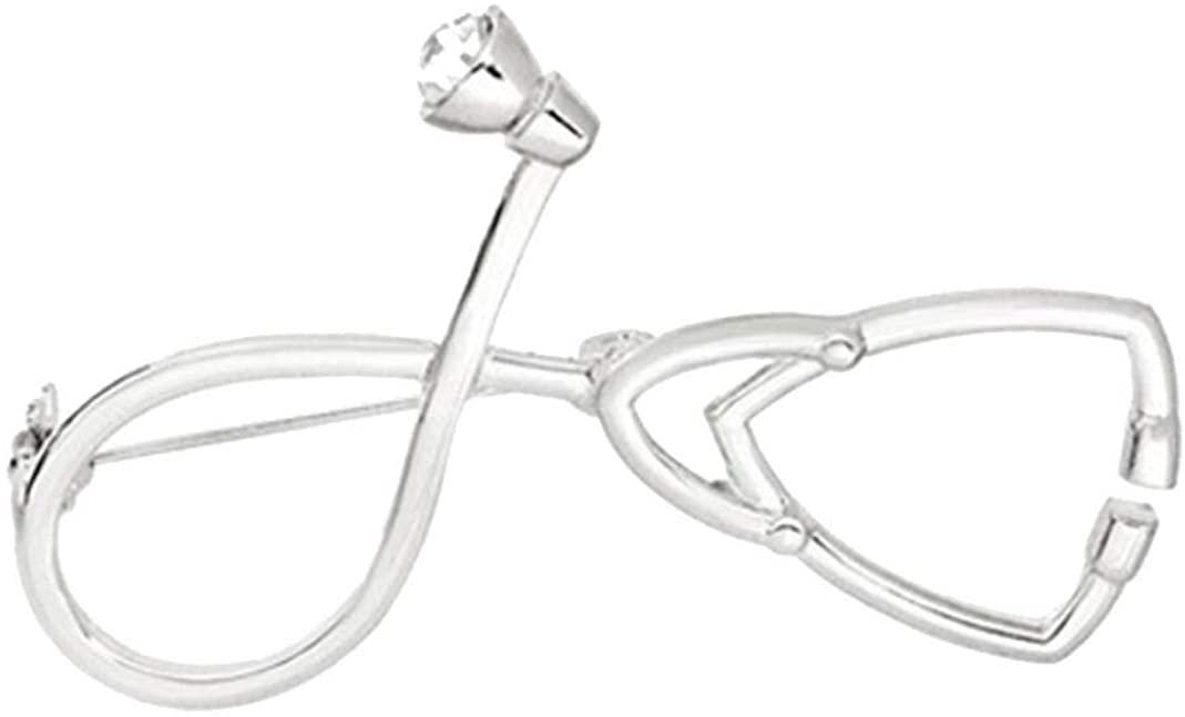 GLOA Brooch Pin, Creative Unisex Medical Stethoscope Rhinestone Clothes Collar Jewelry - Golden