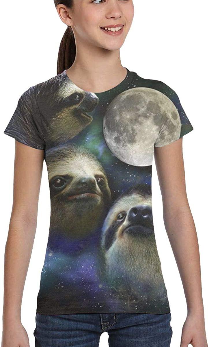 L6Nv4o@A Girls Short Sleeve Three Sloth Astronauts Shirts, Fashion Blouse Clothes, XS-XL