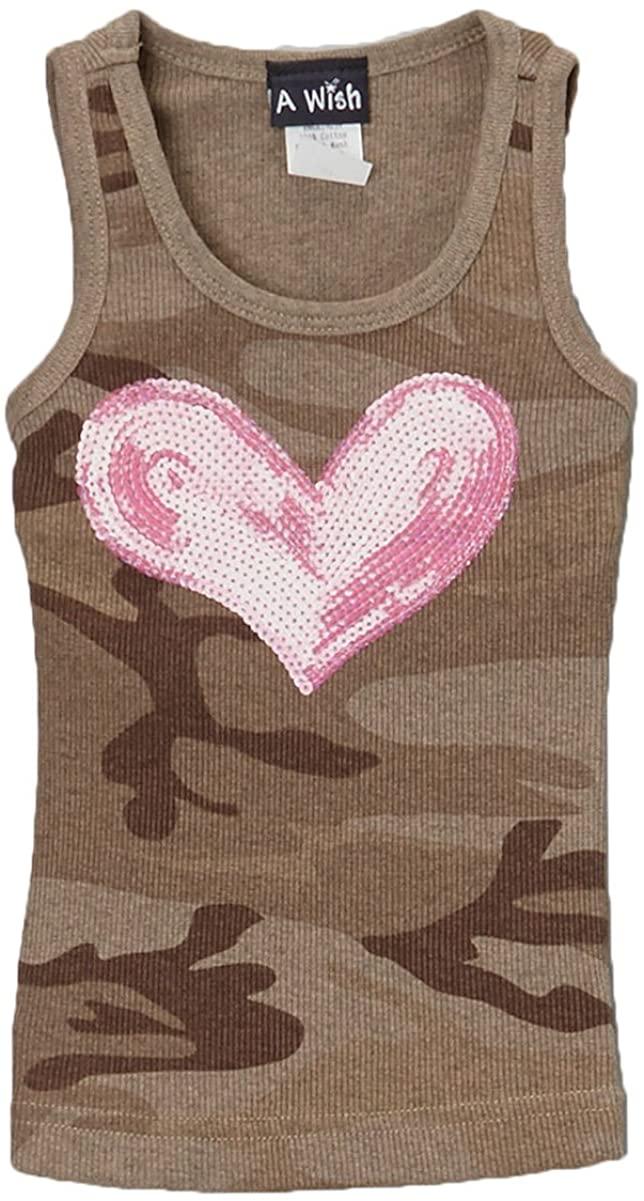 A Wish Green Camo Hot Pink Heart Tank