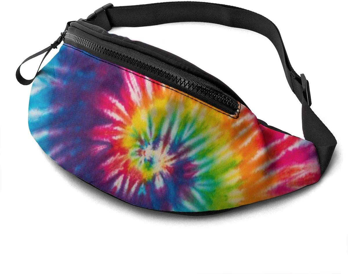 Abstract Swirl Tie Dye Fanny Pack For Men Women Waist Pack Bag With Headphone Jack And Zipper Pockets Adjustable Straps