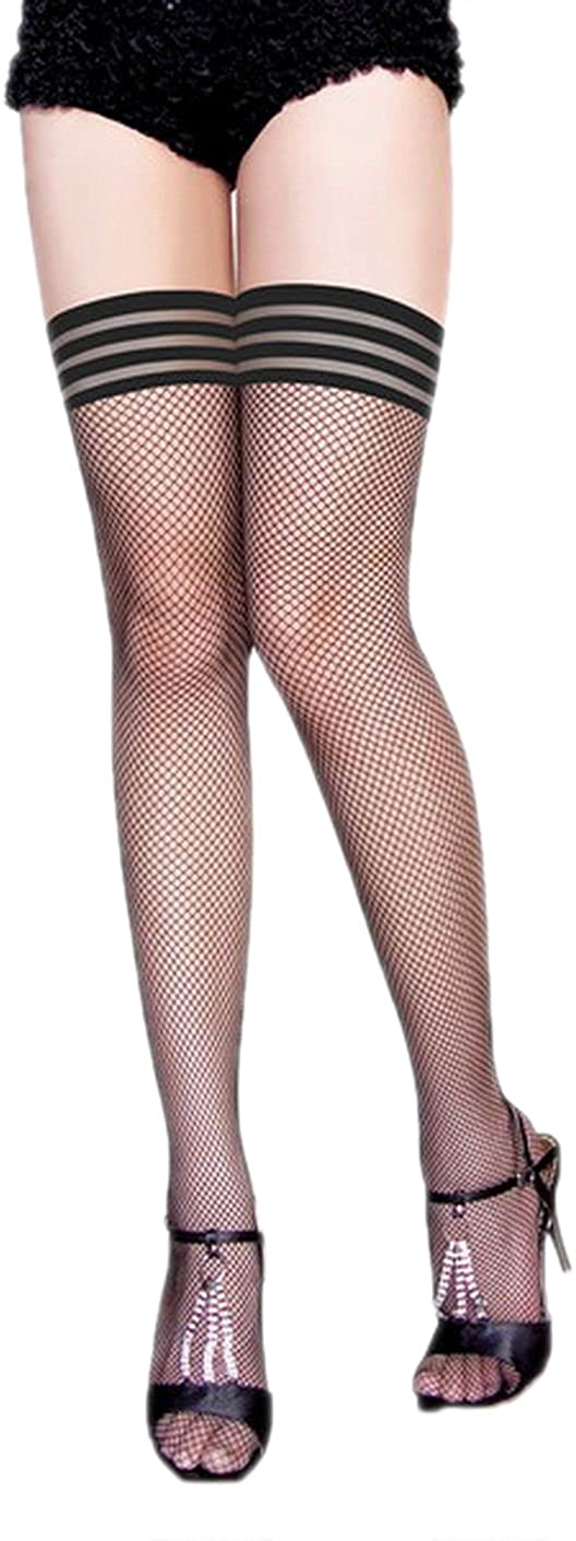JJ-GOGO Ladies Striped Stockings Sexy Womens Fishnet Thigh High Leg Wear