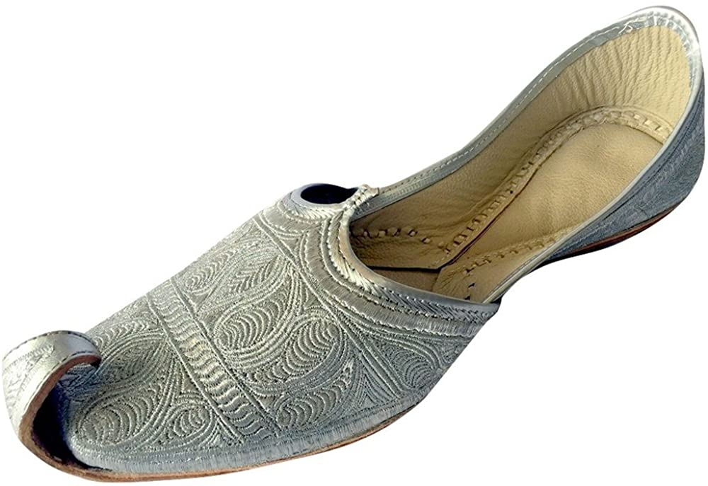 Step n Style Men's Flat Full Silver Zari Khussa Shoes Traditional Indian Leather Loafer Punjabi Jutti