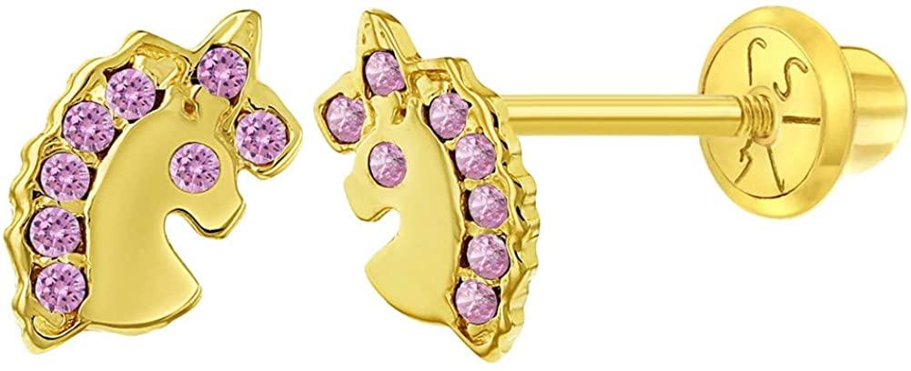 14k Yellow Gold Unicorn Earrings Cubic Zirconia Screw Back Infants Toddler Girls