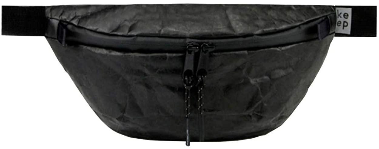 Black Trendy Paper Hip Bag Waist Bag Men Women Unisex Festival Fanny Pack Backpack By Keeppacks 2L, Water Repellent, Tyvek, Streetwear