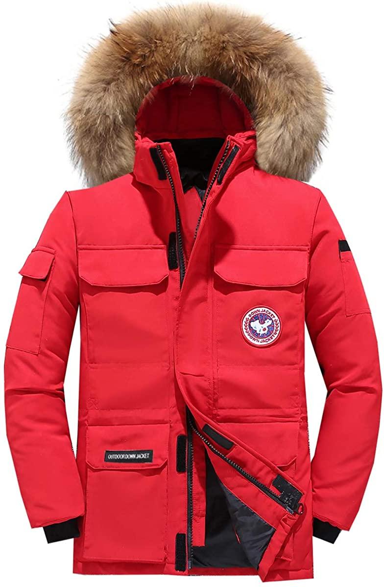LUCKIN Men Goose Down Jacket Hooded Faux Fur Parka Down Coat