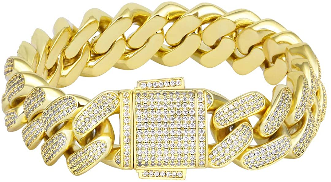 KRKC&CO 18mm Cuban Link Bracelet, 14k Gold Iced Out Bracelet for Men, Prong-Setting 5A CZ Stones, Durable Street-wear Hip Hop Jewelry, Cuban Link Curb Chain 7 8 9 Inches