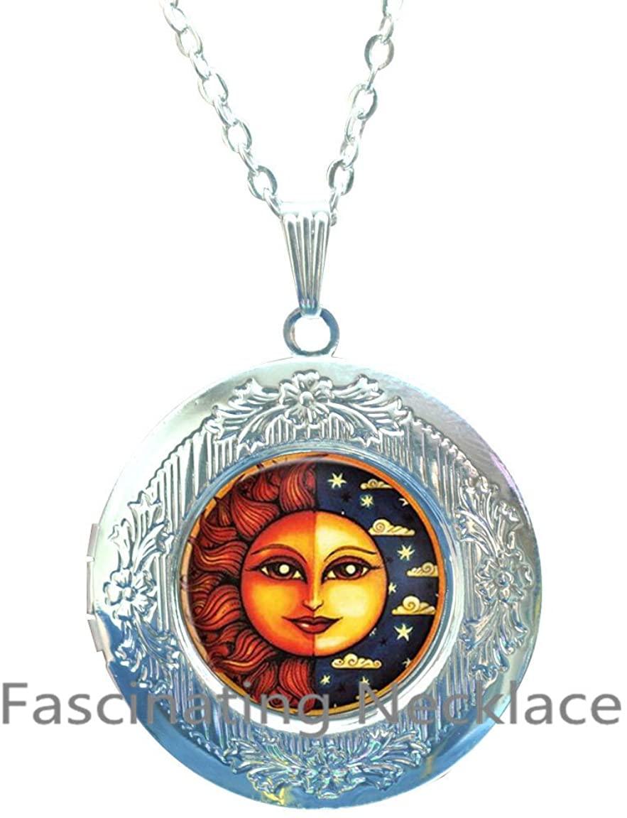 Sun Locket Necklace, Sunshine Jewellery, Happy Gift, Happiness Jewelry, Weather Locket Necklace, Symbol Locket Necklace, Charm Locket Necklace, Cute,AQ145