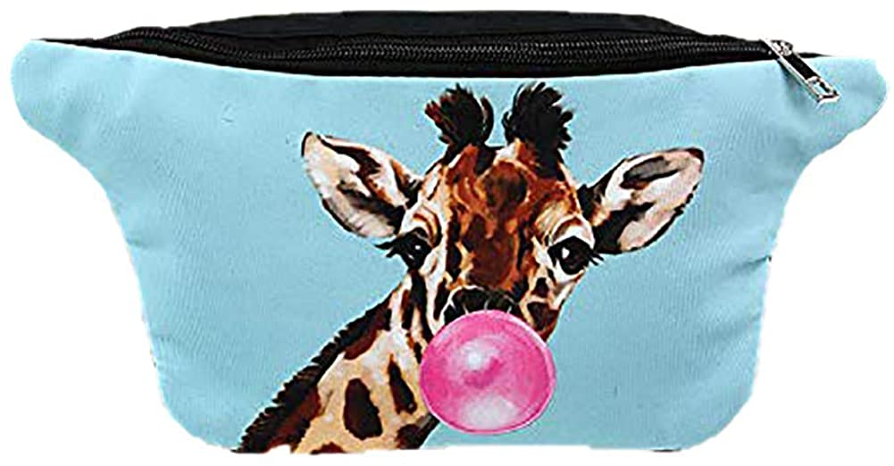 Premium Polyester Bubblegum Giraffe Fanny Pack Cross Body, 12 Inches