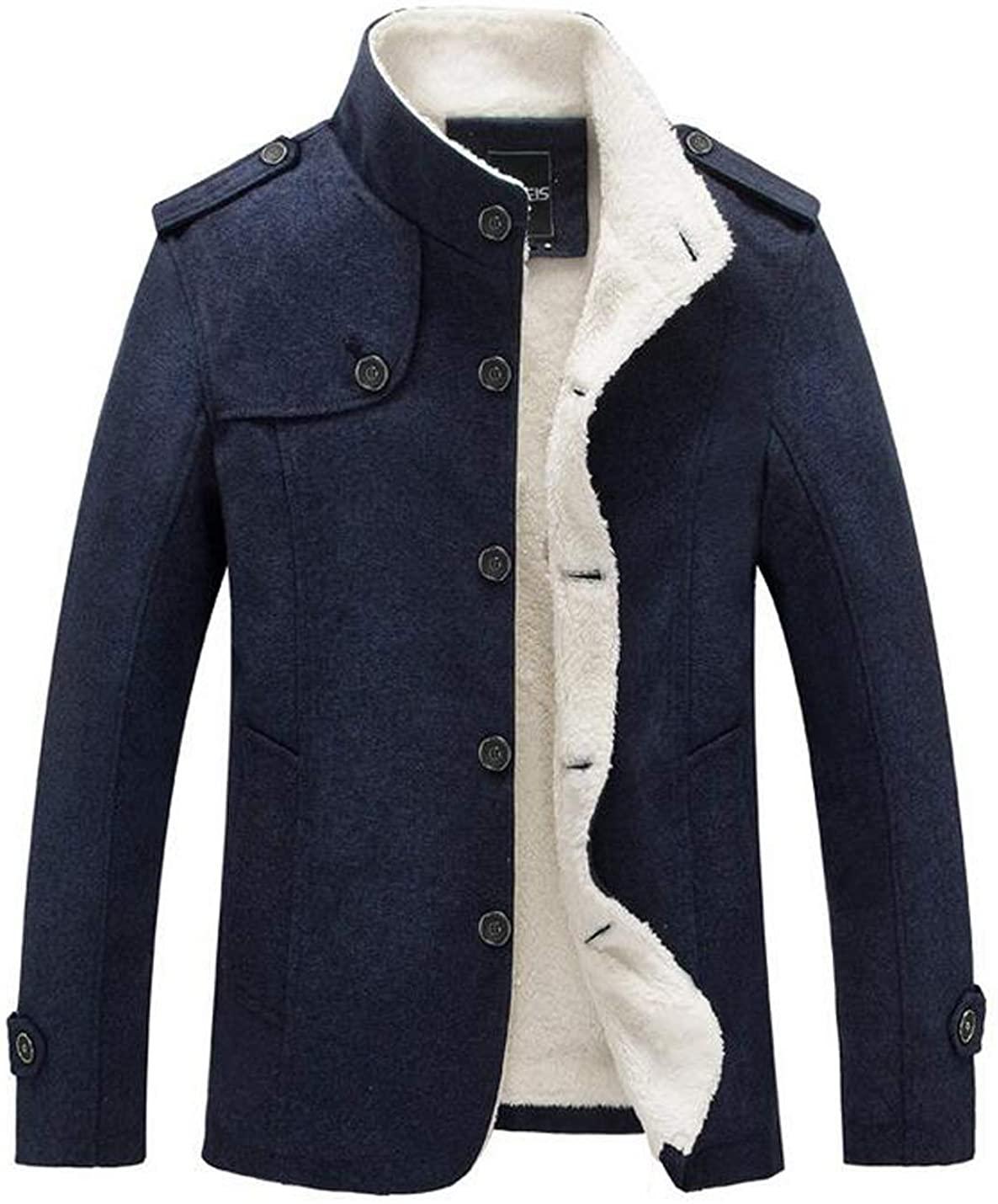D.B.M Men's Slim Warm Stand Collar Buttons Non-Hooded Thicken Lamb Fleece Coat