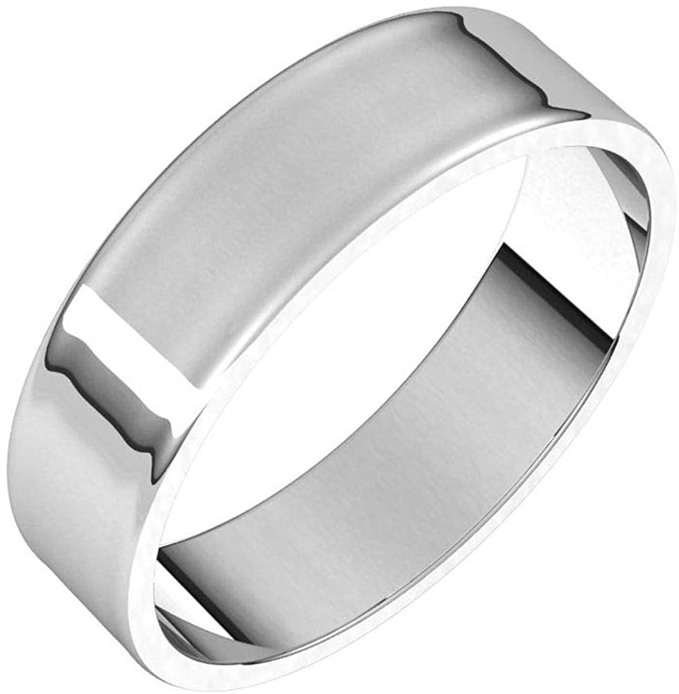 Tarnish Resistant Solid 925 Sterling Silver 5mm Flat Ultra-Light Wedding Band Size 10.5