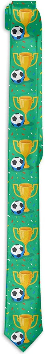 Men's Tie Winner Gold Cup Footbal Ball And Confetti On Fashion Silk Skinny Ties Personalized Gift Neckties