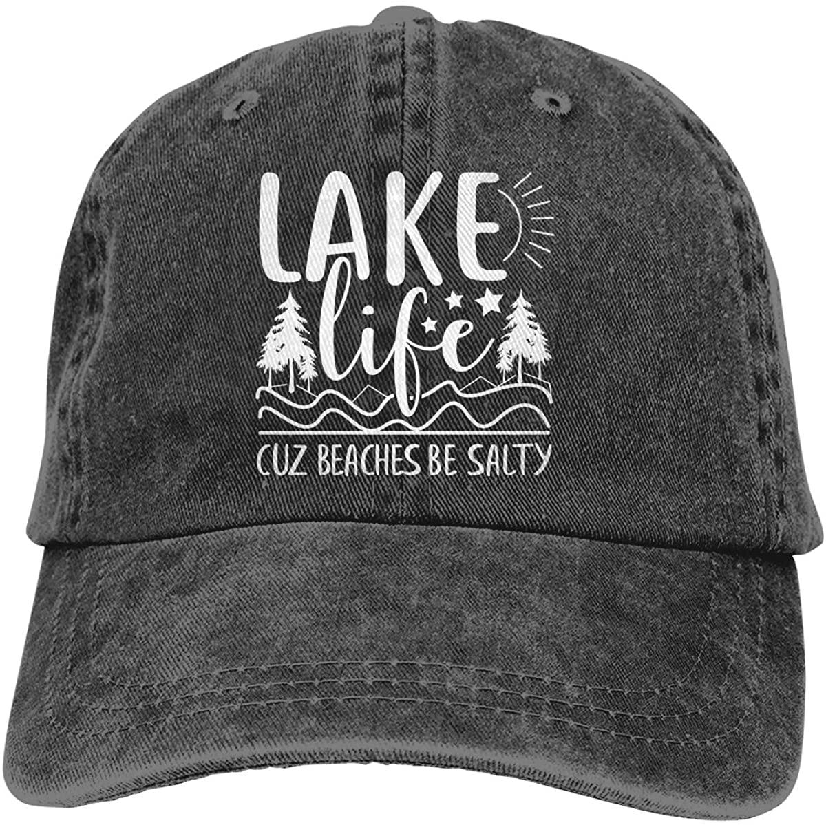 LOKIDVE Women's Lake Life Cuz Beaches Be Salty Baseball Cap Vintage Dad Hat Black