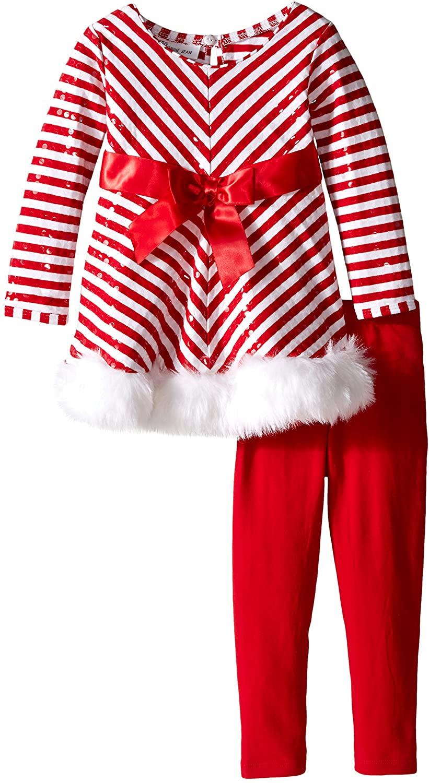 Bonnie Jean Girls' Little Candy Cane Santa Playwear Set
