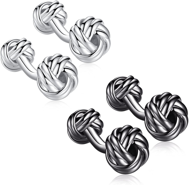 HONEY BEAR Twist Knot Cufflinks Steel for Mens Shirt Wedding Business Gift